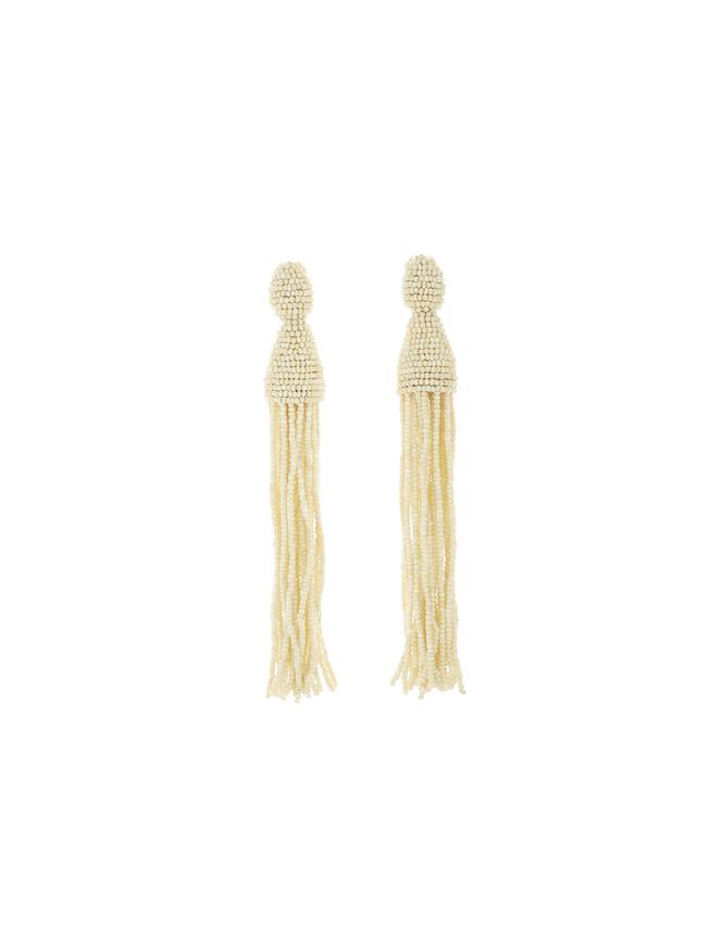 Long Tassel Earrings Ivory