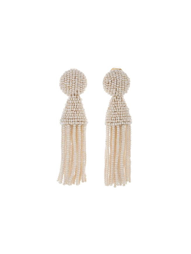 Short Tassel Earrings Ivory
