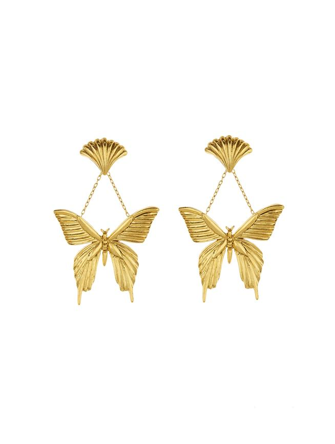 Swallowtail Butterfly Earrings Gold