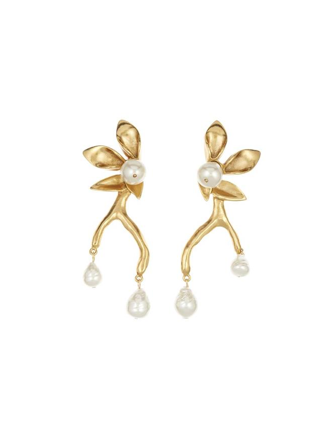 Coral Branch Earrings Gold
