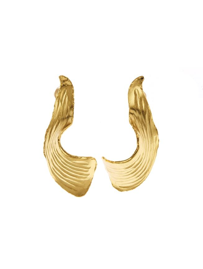 Molten Leaf Earrings Gold