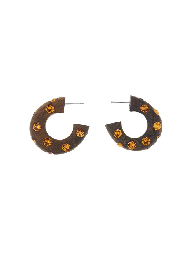 Wood Hoop Earrings Tangerine