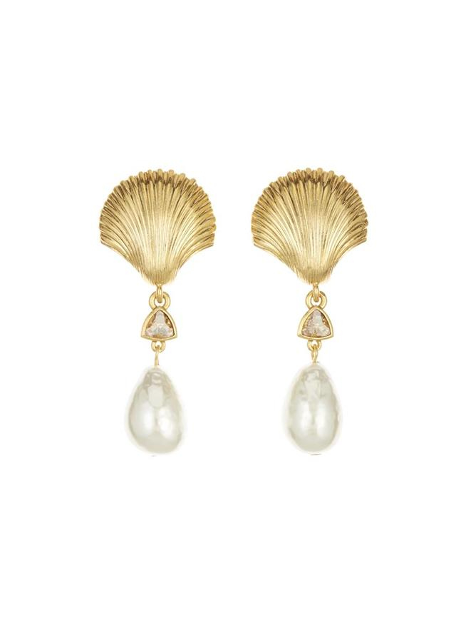 Scallop Shell Earrings Gold