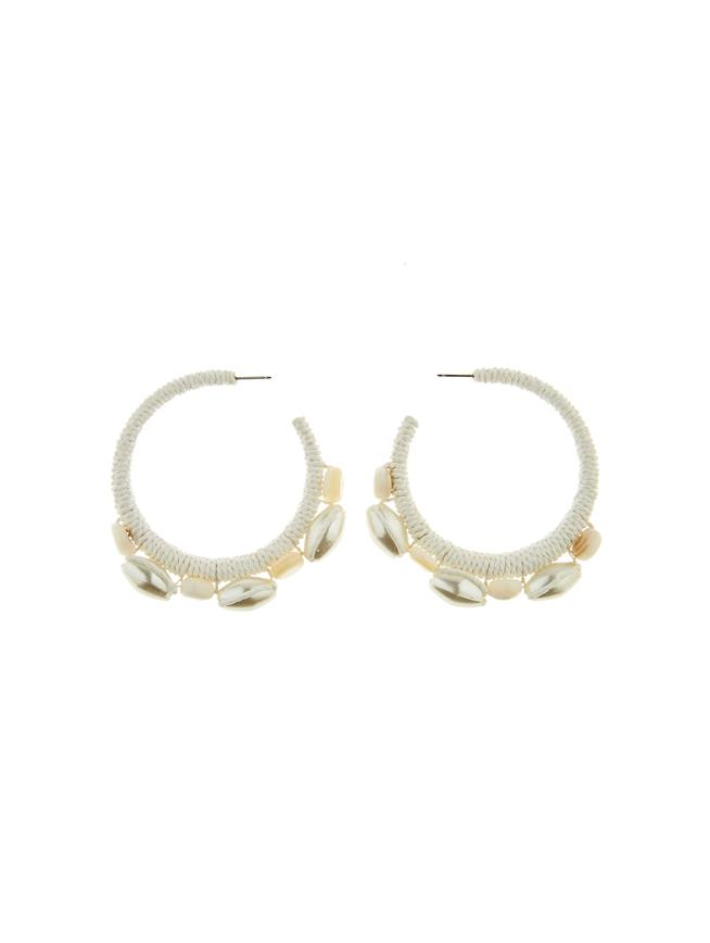 Embroidered Hoop Earrings Ivory