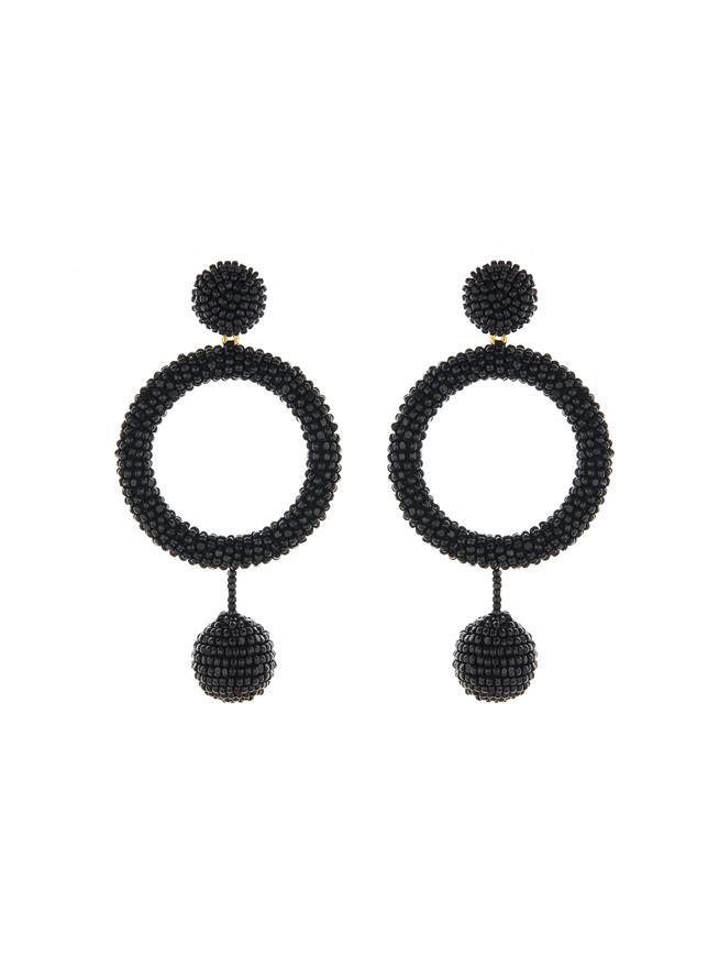 Beaded Hoop Earrings Black