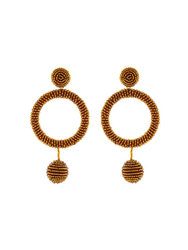 Beaded Hoop Earrings Bronze