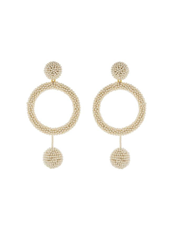 Beaded Hoop Earrings Ecru