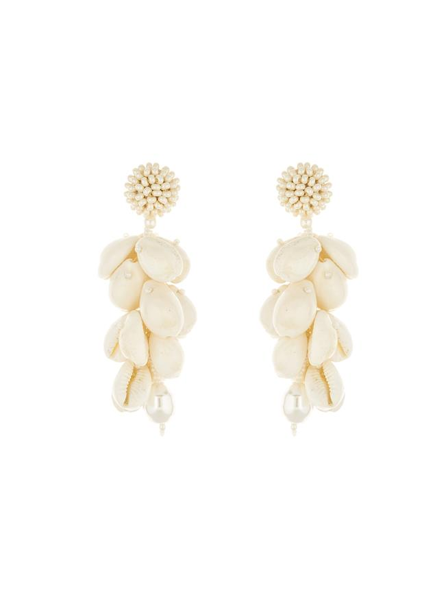 Beaded Shell Earrings Ecru
