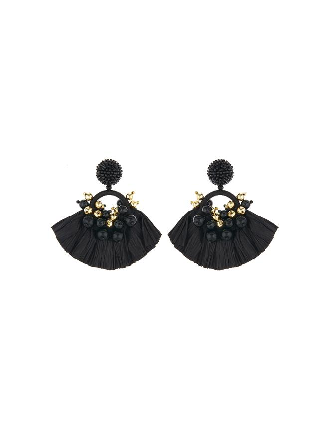 Raffia Fringe Earrings Black