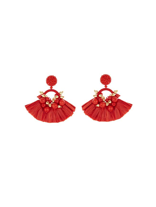 Raffia Fringe Earrings Red