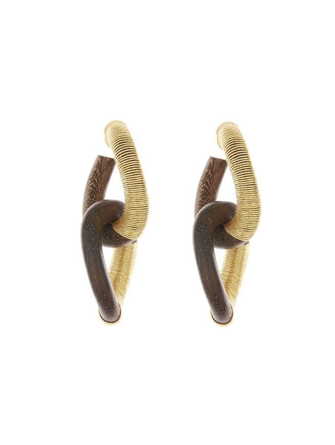 Embroidered Wood Hoop Earrings Dark Brown