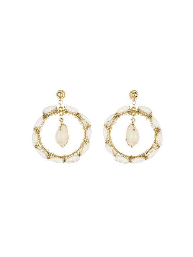 Puka Shell Earrings Ivory/Gold