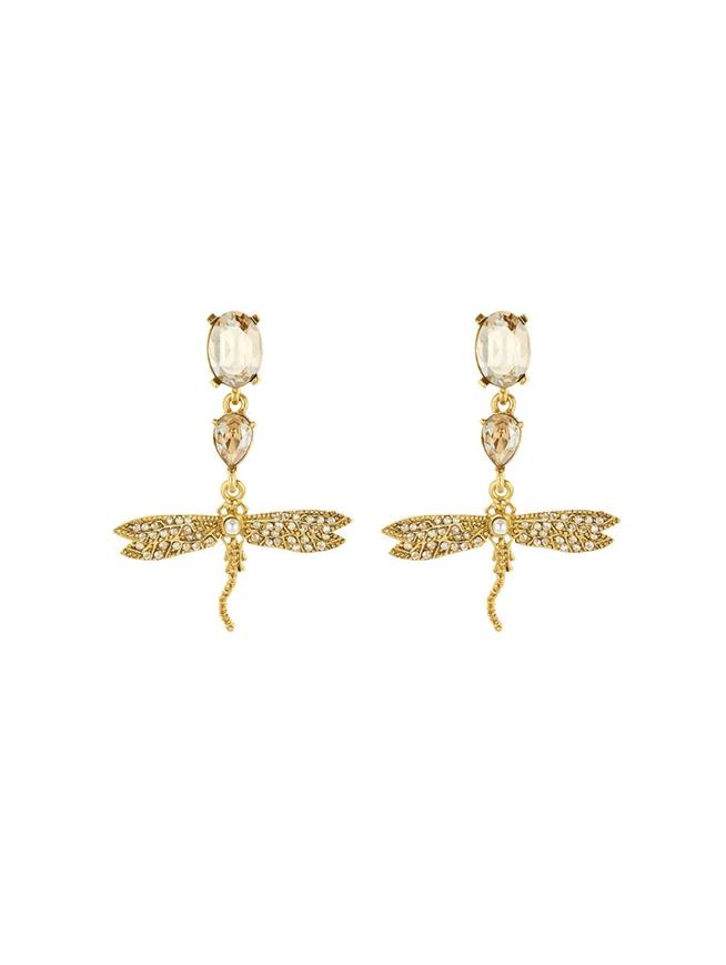 Pavé Dragonfly Earrings Cry Gold Shadow