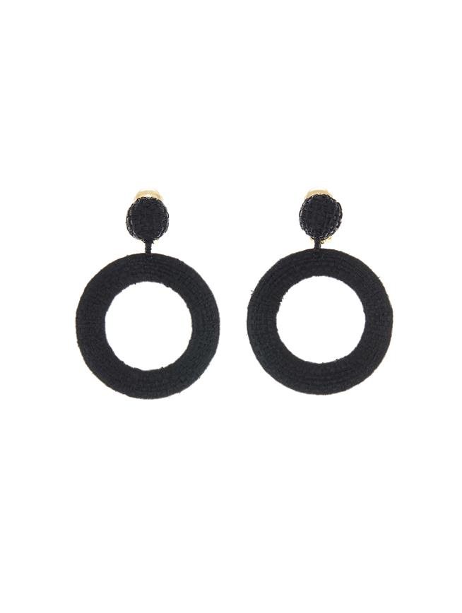 Black Hoop Earrings Black