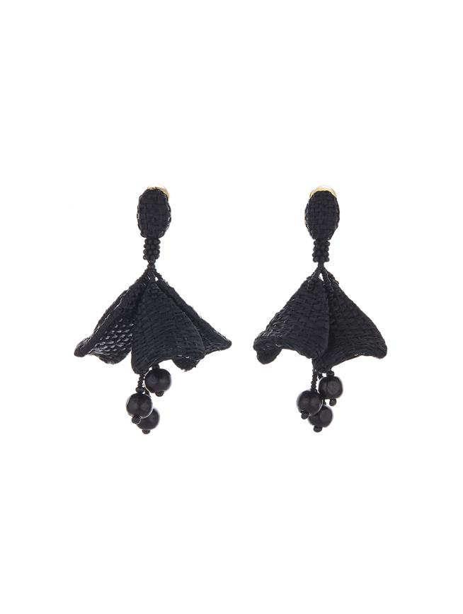 Raffia Impatiens Earrings Black