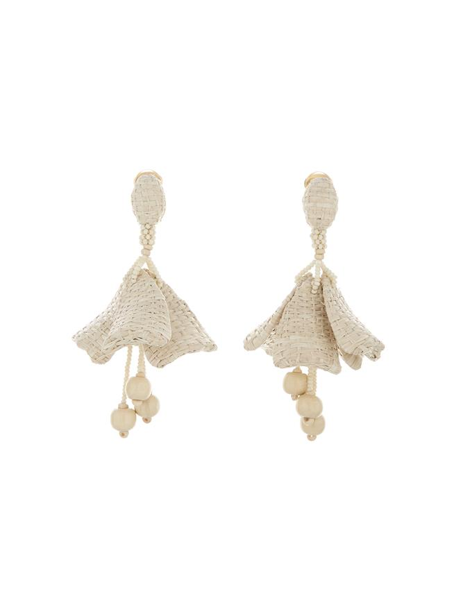 Raffia Impatiens Earrings Ivory