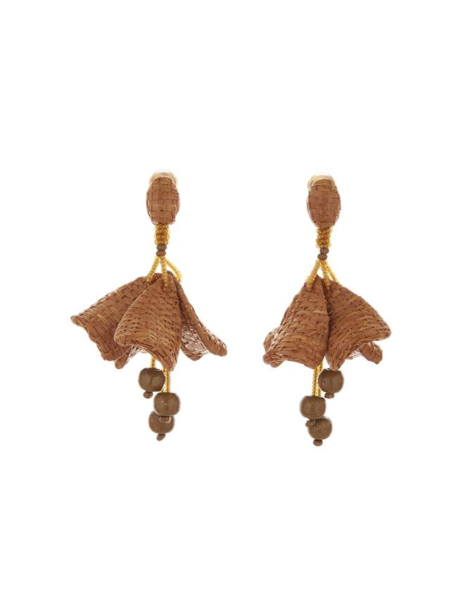 Raffia Impatiens Earrings Tan