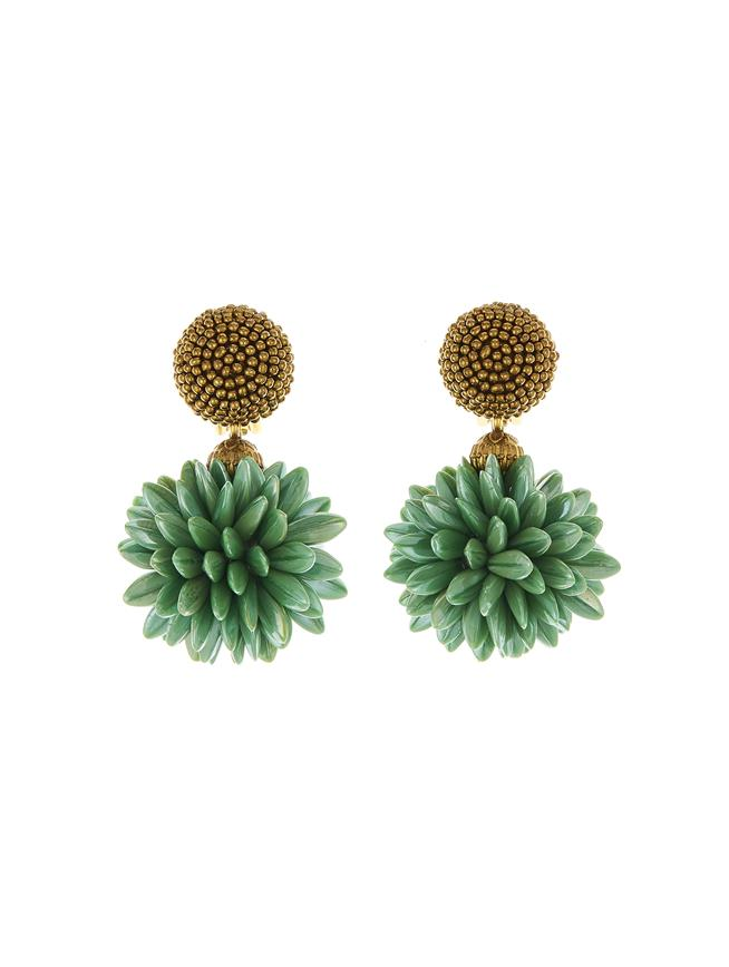 Cluster Earrings Gold/Green