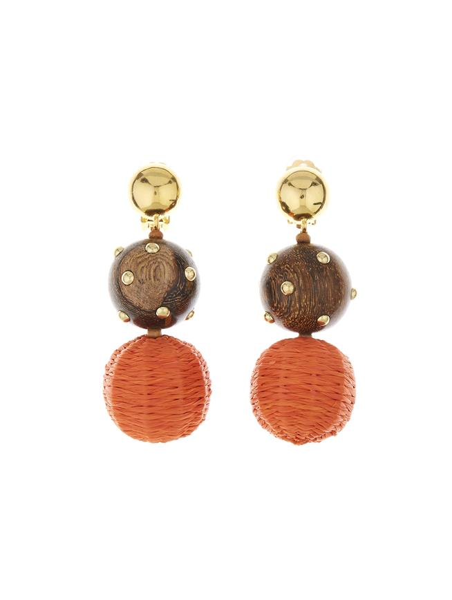 Embroidered Earrings Burnt Orange