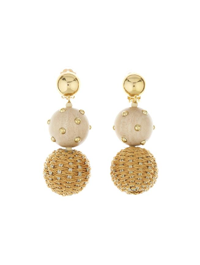 Embroidered Earrings Gold