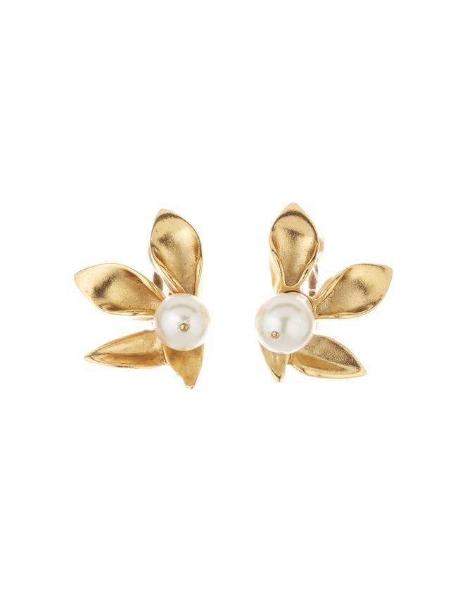 Flower Pearl Earrings Gold