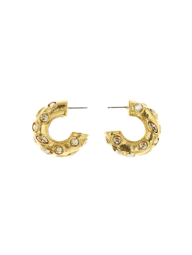 Gold Crystal Hoop Earrings Gold