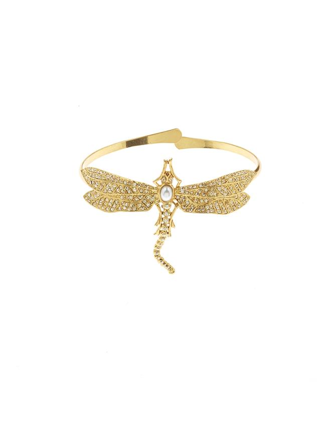 Pavé Dragonfly Cuff Gold