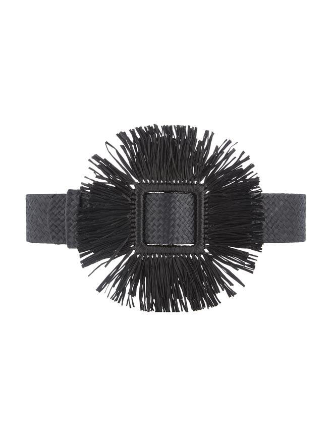 Raffia Belt Black