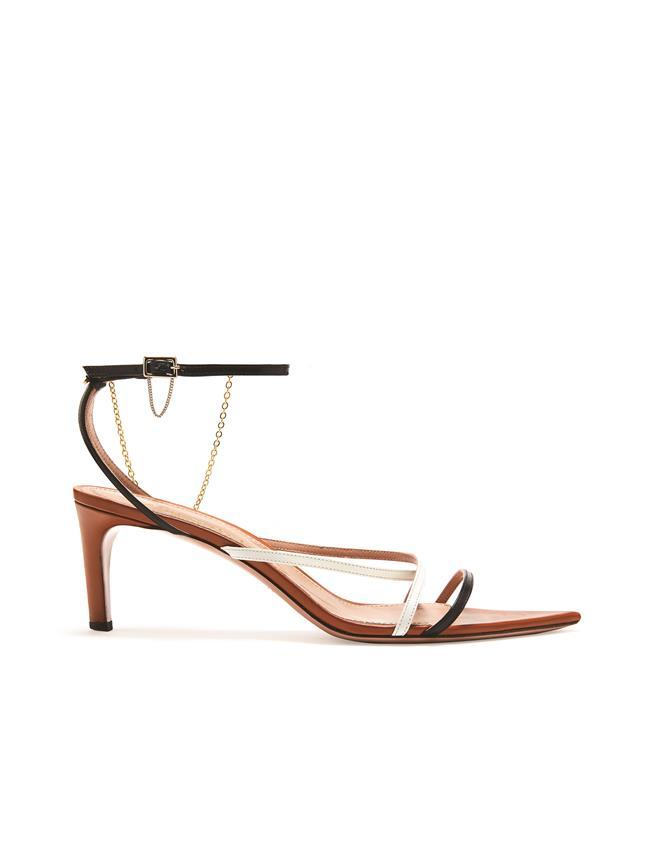 Tricolor Asymmetric Sandals Cognac/Black