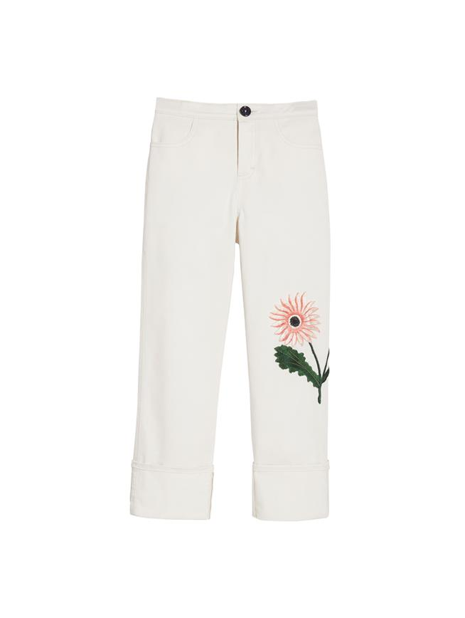 Flower Embroidered Pants Ecru
