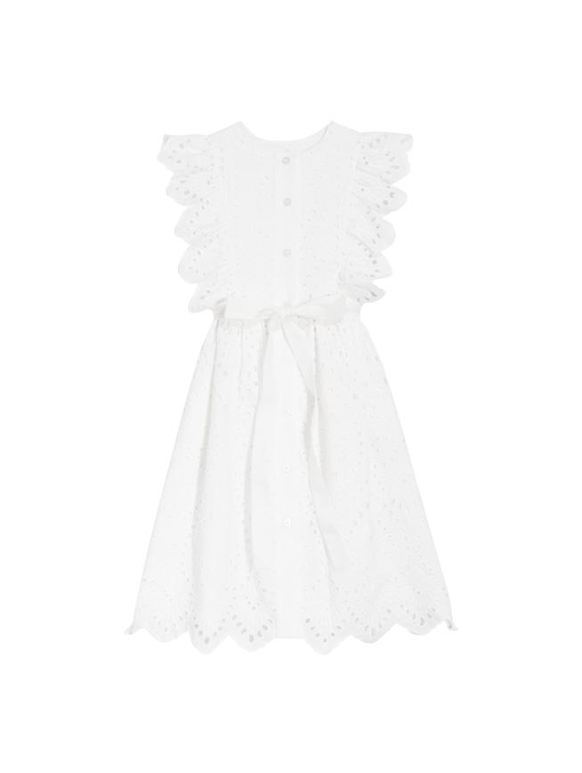 Scalloped Dress White