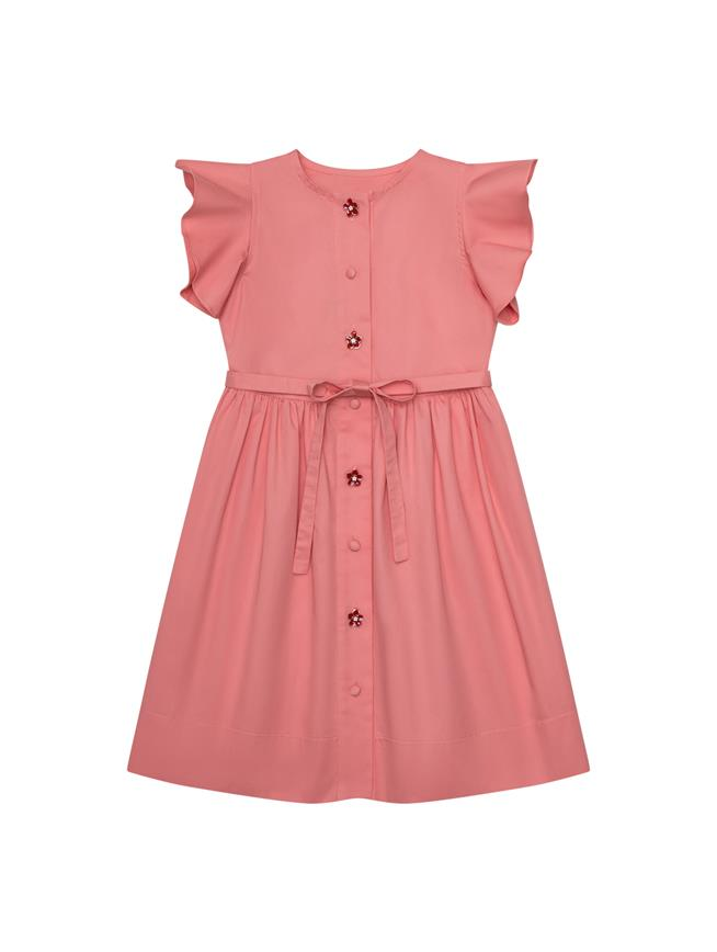 Ruffled Sleeve Dress Blush