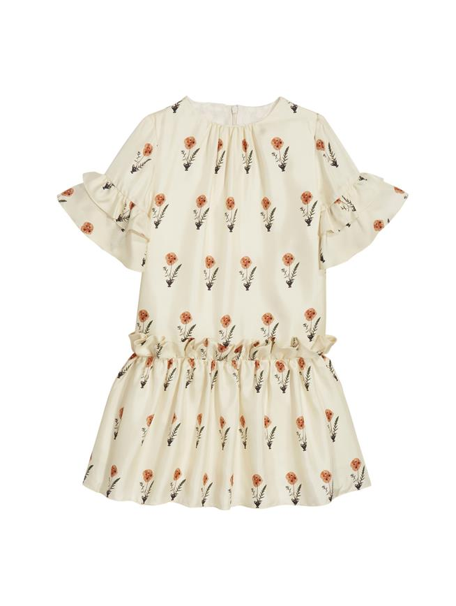 Ruffled Flower Dress Ecru Multi