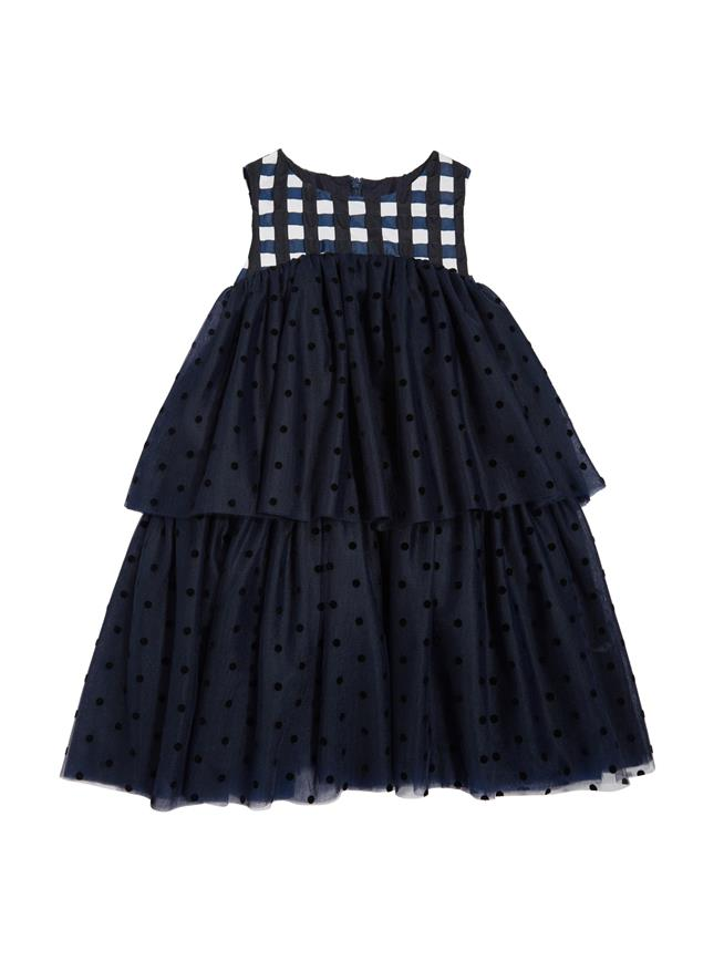 Gingham Dress Navy / White