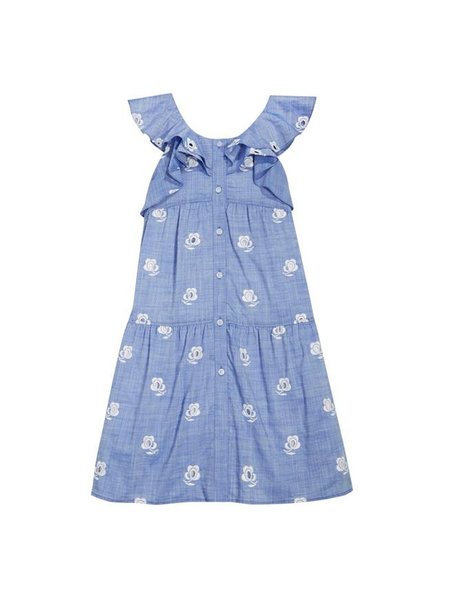 Embroidered Dress Blue / White