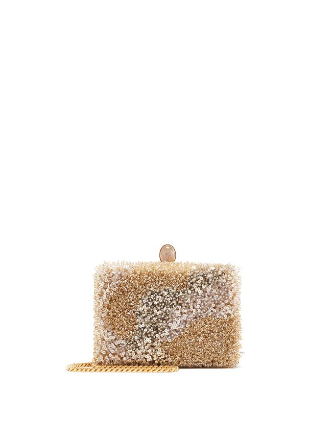 Gold Beaded Rogan Clutch Gold