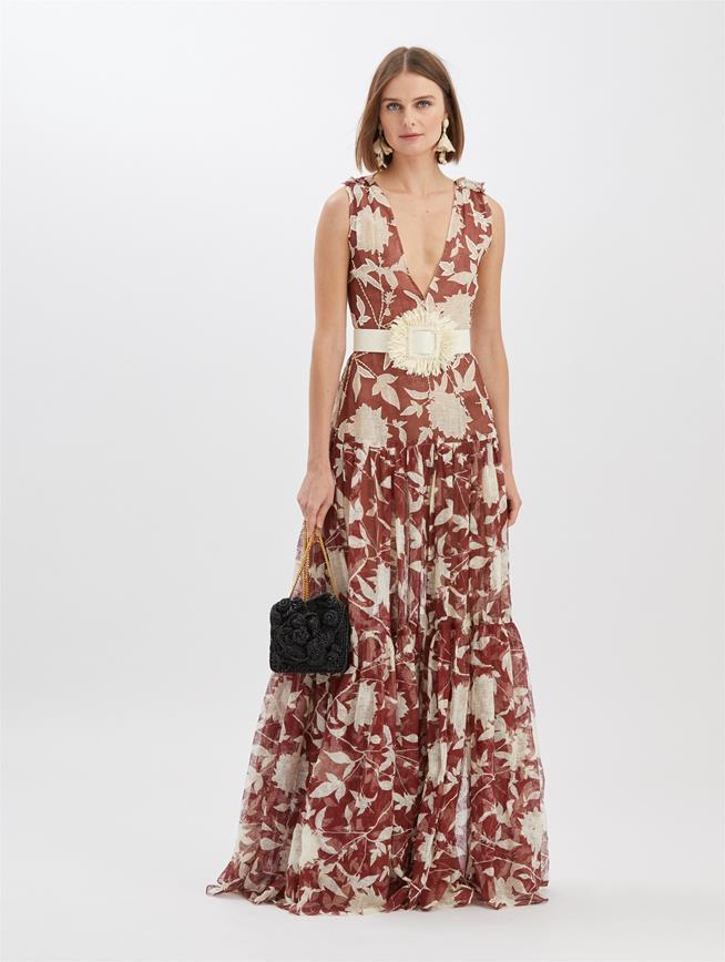 Embroidered Silk Leno Maxi Dress Rustic