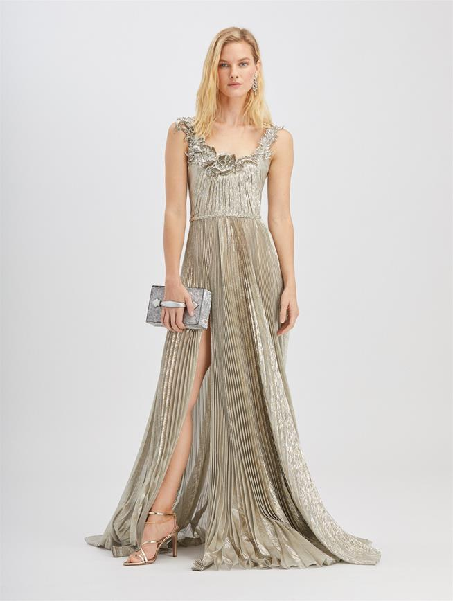 Metallic Fern Embroidered Gown Silver