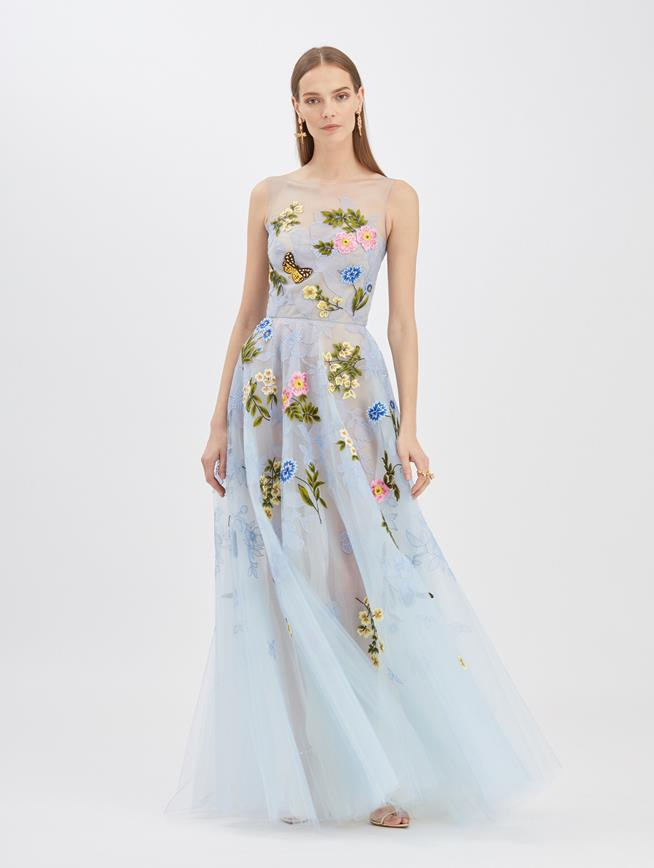 Butterfly Embroidered Tulle Gown Cornflower