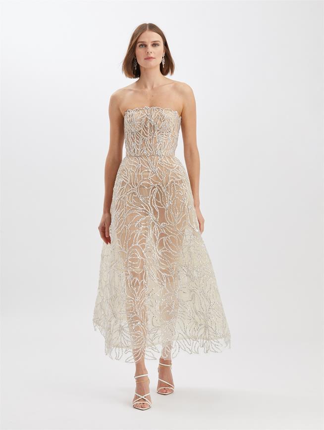 Crystal Floral Gown Beige
