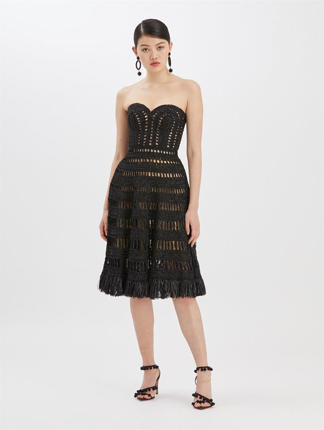 Crochet Strapless Knit Dress Black