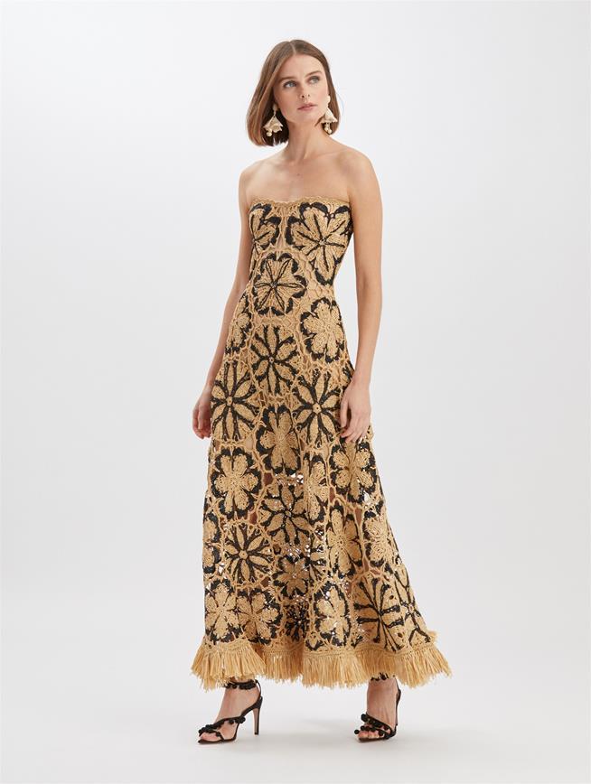 Printed Raffia Strapless Gown Black/Beige