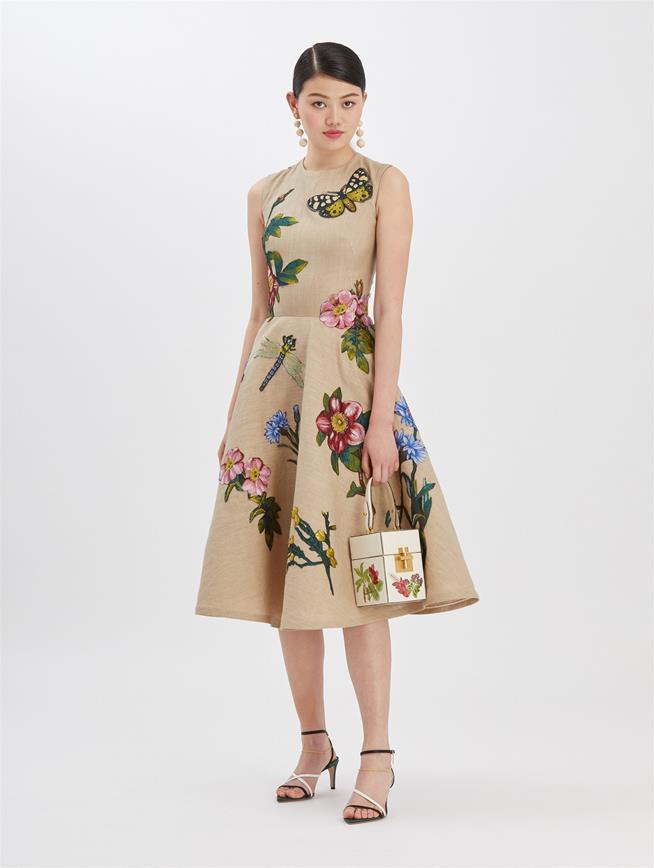 Embroidered Linen Dress Beige