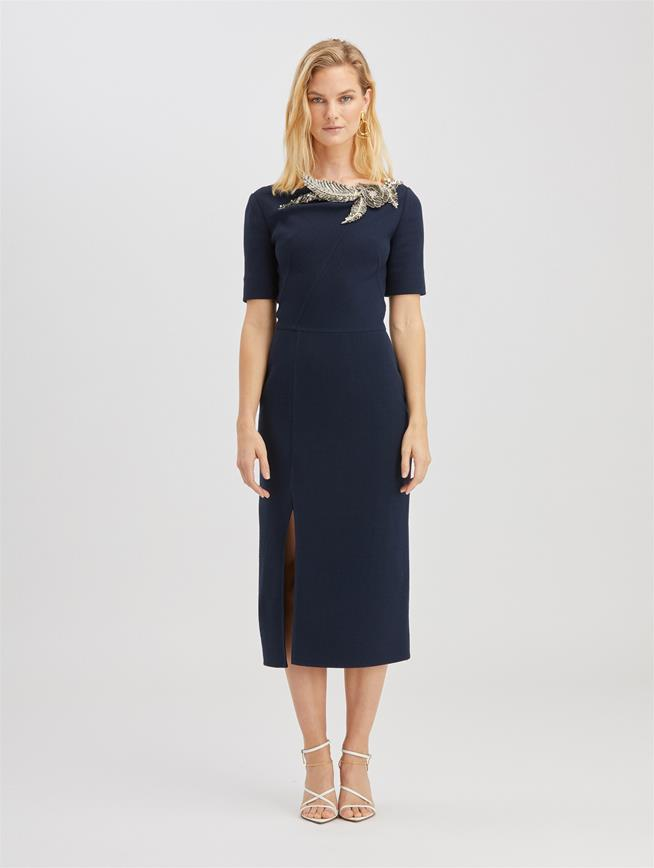 Crystal Embroidered Wool Dress Navy