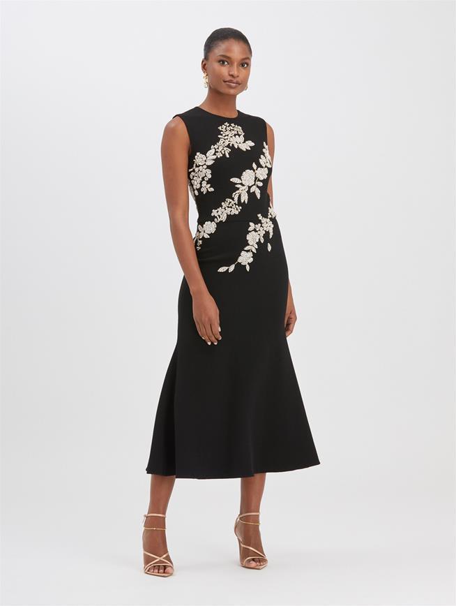 Crystal Floral Embroidered Dress  Black