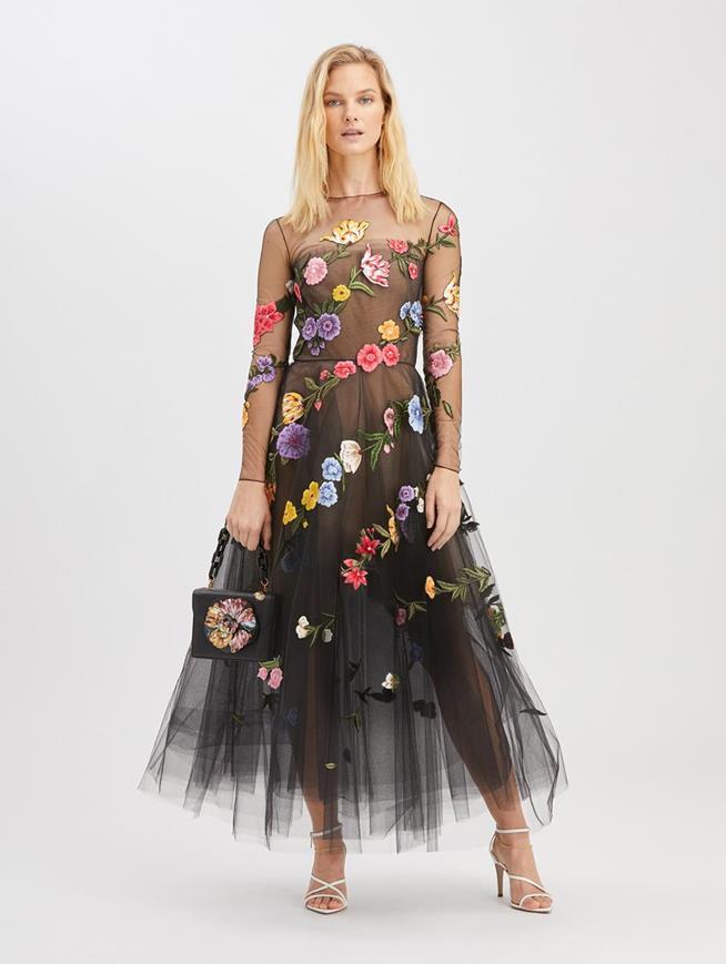 Floral Embroidered Cocktail Dress Black