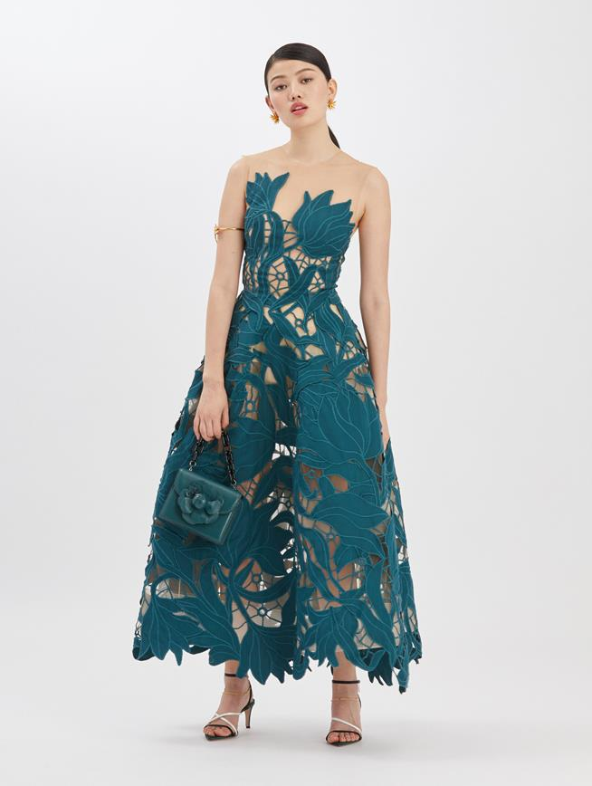 Embroidered Moire Peacock Dress Peacock