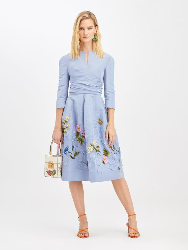 Cornflower Embroidered Cocktail Dress Cornflower
