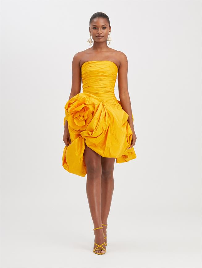 Strapless Silk-Taffeta Cocktail Dress Saffron