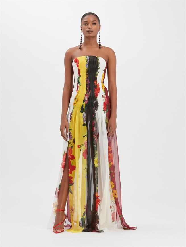 Printed Silk Strapless Gown Ivory Multi